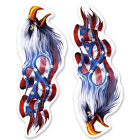 Lethal Threat Rude & Crude Flame USA Eagle Mini Decal