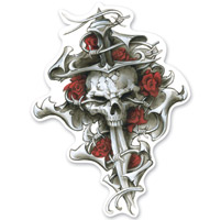 Lethal Threat Rude & Crude Roses N Dagger Skull Mini Decal
