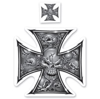 Lethal Threat Rude & Crude Iron Cross Mini Decal