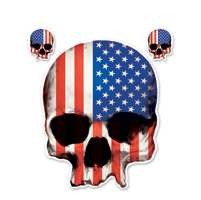 Lethal Threat USA Flag Skull Decal