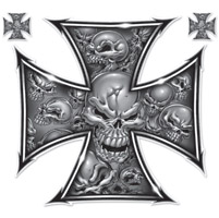 Lethal Threat Gray Skull Cross Large Decal