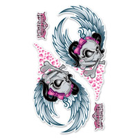 Lethal Threat Flying Girl Skull Glitter Decal