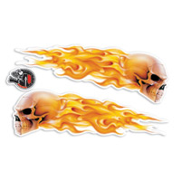 Lethal Threat Flame Skull Glitter Decal