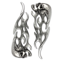 Lethal Threat Mechanical Skull Flames 3-D Right and Left Emblems