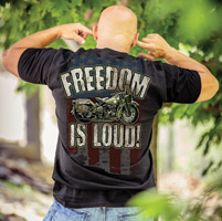 J&P Cycles® Freedom is Loud Black Pocket T-shirt