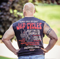 J&P Cycles® Heavy Metal Thunder Navy Sleeveless T-Shirt