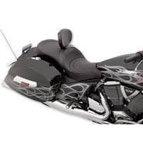 Drag Specialties Low-Profile Touring Mild Stitch Seat with Driver Backrest