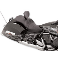 Drag Specialties Low-Profile Touring Flame Stitch Seat with Driver Backrest