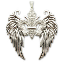 Hair Glove Angel Wings Fleur De Lis with Clear Stones Zipper Pull