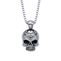 Wildthings Stainless Steel Necklace Rhinestone Skull with 20″ Chain