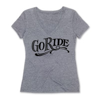 Roland Sands Design Go Ride Ladies Heather Gray V-neck Tee