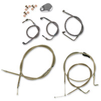 LA Choppers Polished Cable/Brake Line Kit for Beach Bars on Models with ABS