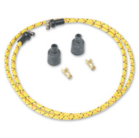 Lowbrow Customs  Yellow/Black/Red Cloth 7mm Spark Plug Wires