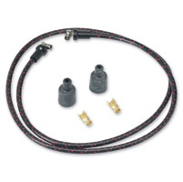 Lowbrow Customs  Black/Red Cloth 7mm Spark Plug Wires