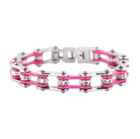 Kodiak Silver/Pink with Crystals Chain Bracelet