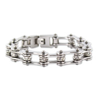 Kodiak All Silver with Crystals Chain Bracelet
