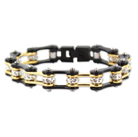 Kodiak Black/Gold with Crystals Chain Bracelet