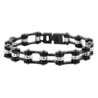 Kodiak All Black with Crystals Chain Bracelet