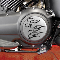 Barracuda Custom Accessories Silver Flames Black Derby Cover Set