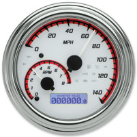 Dakota Digital White/Red MVX-2004 Series Analog Gauge System with Chrome Bezel