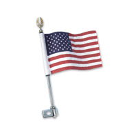 Show Chrome Accessories 12″ Gold Eagle Flag Pole Mount with American Flag