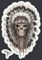 Lethal Threat Indian Skull Mini Decal