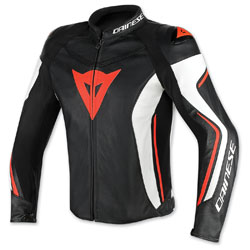 Dainese Men's Assen Perforated Black/White/Fluo Red Leather Jacket