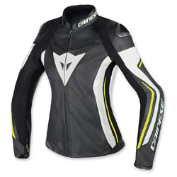 Dainese Women's Assen Black/White/Fluo Yellow Leather Jacket