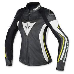 Dainese Women's Assen Black/White/Fluo Yellow Leather Jacket