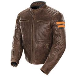 Joe Rocket Men's Classic '92 Brown/Orange Leather Jacket