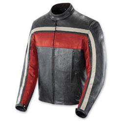 Joe Rocket Men's Old School Red/Black/Ivory Leather Jacket