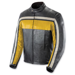 Joe Rocket Men's Old School Yellow/Black/Ivory Leather Jacket