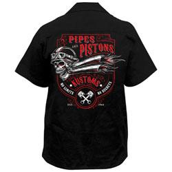 Lethal Threat Men's Pipes N Pistons Black Work Shirt