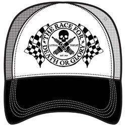 Lethal Threat Men s Death Or Glory Black White Trucker Hat ae8434b83c0b