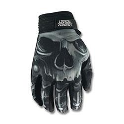 Lethal Threat Men's Biomechanical Skull Black Gloves