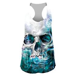 Lethal Angel Women's Ocean Skull White/Blue Tank Top
