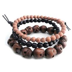 AMiGAZ Wood Skull Bead Bracelets