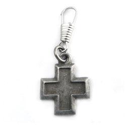 AMiGAZ Square Cross Pewter Zipper Pull