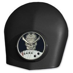 MotorDog69 Black Horn Cover Coin Mount with Dead Man's Hand Coin