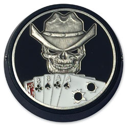 MotorDog69 Black Universal Coin Mount with Dead Man's Hand Coin