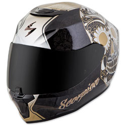 Scorpion EXO EXO-R420 Sugarskull Black/Gold Full Face Helmet