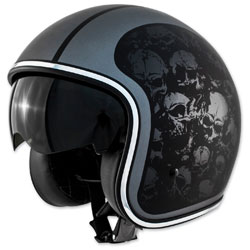 Zox Route 80 DDV Skulls Matte Black Open Face Helmet