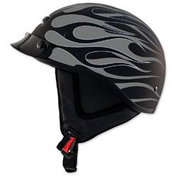 Zox Alto Custom Hot Rod Matte Silver Half Helmet