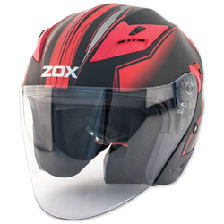 Zox Journey Trip Matte Red Open Face Helmet