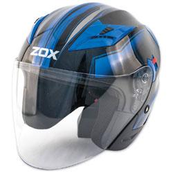 Zox Journey Trip Glossy Blue Open Face Helmet