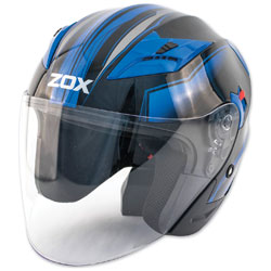 Zox Journey Trip Glossy Blue Open Face Helmet