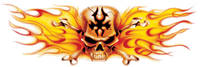 Lethal Threat Flaming Skull Decal