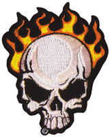 Flame Skull Embroidered Patch