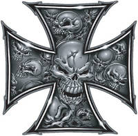 Lethal Threat Decal: Gray Skull Cross, 4-1/8