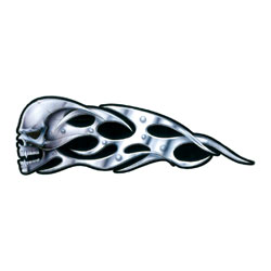 Lethal Threat Tribal Chrome Skull Decal - Left